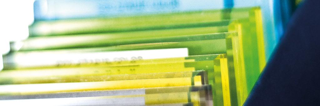 lackierte Glasscheiben