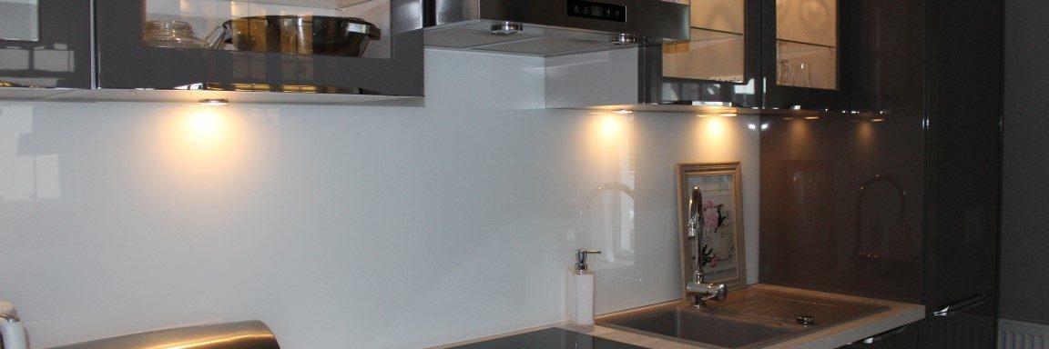 lacktiertes Glas Küche grau